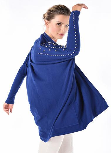 Optique Knitwear Düz Şal Yaka Uzun Kol Triko Hırka Lacivert